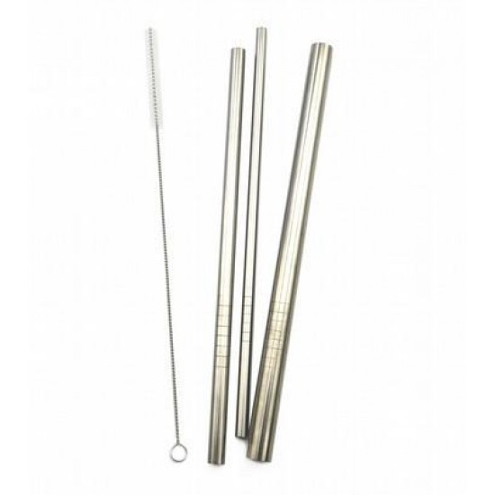 Haakaa Stainless Steel Curved Straws (pack of 3 + cleaning brush)