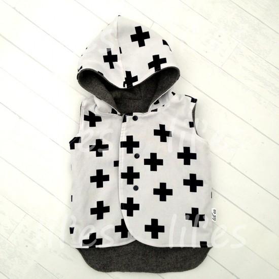 Lil'es Reversible Hooded Woolen Vest - Grey/Crosses
