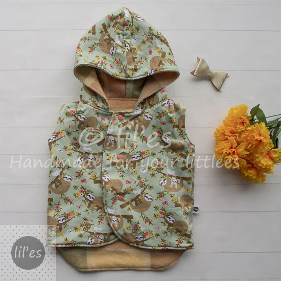 Lil'es Reversible Hooded Woollen Vest - Peachy/Sloths