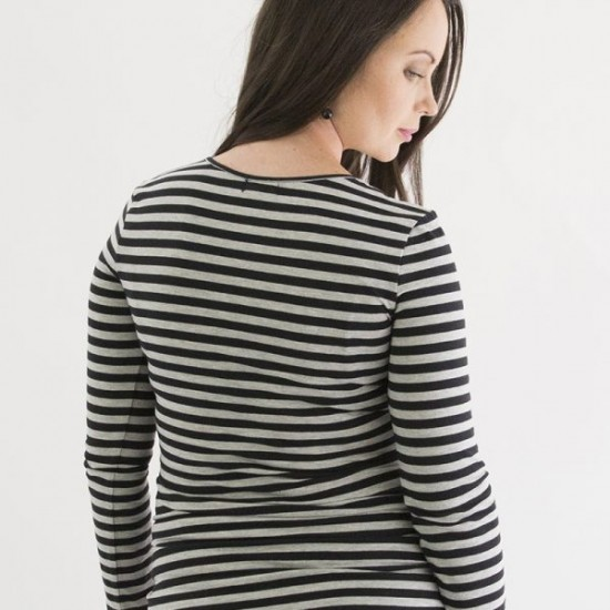 Mrs Smith Maternity Long Sleeve Striped Nursing Top