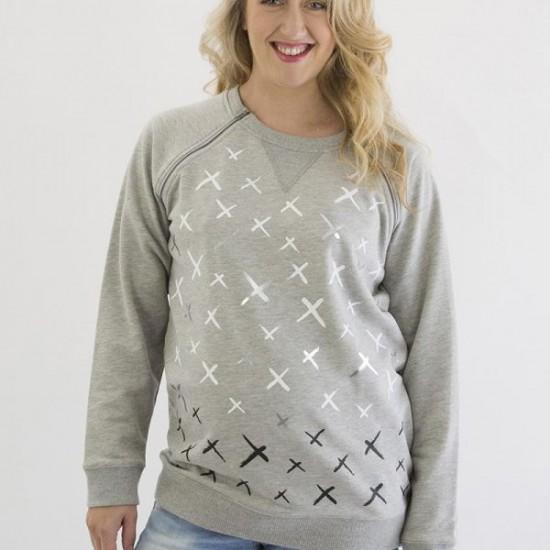 Mrs Smith Maternity Crosses Printed Maternity & Nursing Sweatshirt