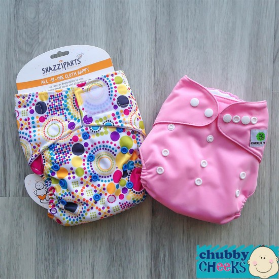 Snazzipants (All-In-One) + Cherub Tree (Pocket) Cloth Nappy Trial Pack