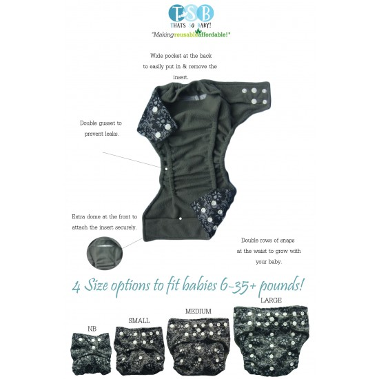 Thats So Baby Bamboo Charcoal Reusable Nappies